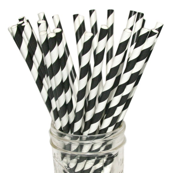 Paper Straws in Black and White Stripes