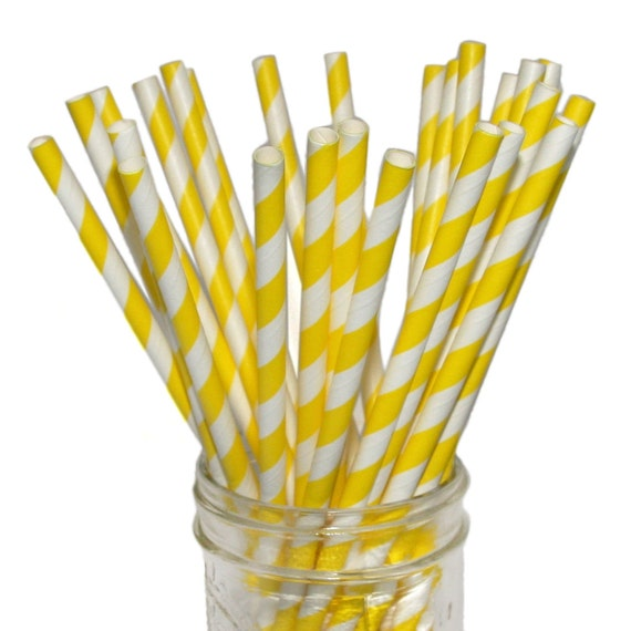 Paper Straws in Bright Yellow and White Stripes