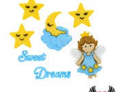 Jesse James Buttons 7 pc SWEET DREAMS Fairy, Sleep, Moon, Stars Buttons OR Turn them Into Flatback Decoden Cabochons