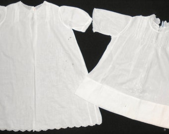 Set Of 2 Antique Vintage Sweet Hand Embroidered BABY NIGHT GOWN Robe Hand Made
