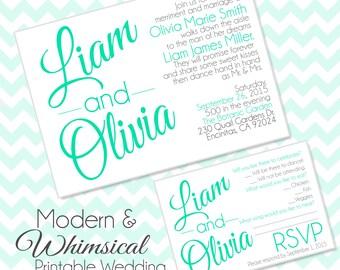 Modern & Whimsical Printable Wedding Invitation Set