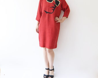 Vintage red 80s mini dress / small / face / golden sunnies