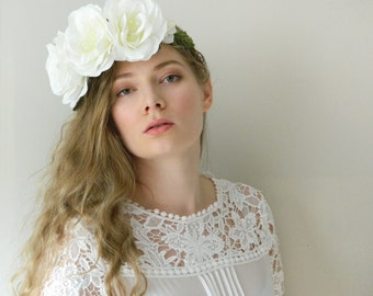 Oversized White Rose Flower Crown - Boho Chic Wedding Bridal - READY TO SHIP