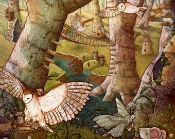 Of Mice and Owls Mouse Guard Fan Art Forest Illustration Giclée Print