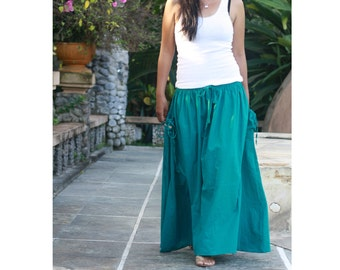 Teal Maxi Skirt / Girls Maxi Skirt with Pockets