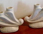 Vintage Set of Bauer Candle Holders matching set of two original white