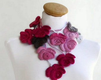 Crochet scarf, Women Flowers, Spring Fashion, Floral scarf, Colorful necklace, crochet lariat, handmade rose, handmade neckwarmer, scarf...