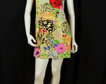 90s soft grunge mini dress Summer rayon dress Casual clothing Women vintage dress Floral tank dress Colorful sleeveless high waist dresses