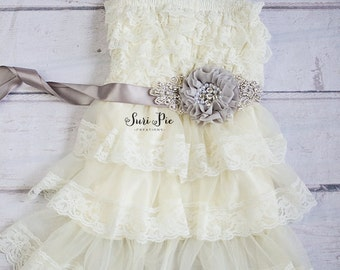 Rustic Flower Girl Dress and Sash...Cowboy Flower Girl..Rustic Weddings.Ivory Lace Flower Girl dress..Flower Girl Sash..Burlap Weddings.