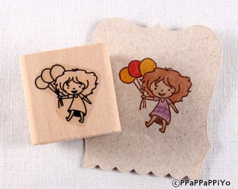 50% OFF SALE balloon Girl Rubber Stamp