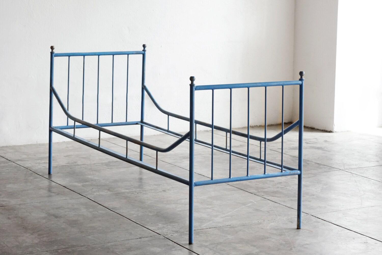Vintage industrial steel bed frame 1920s for Steel bed frame