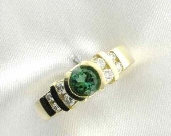 Sleek and Stunning Yellow Gold Green-Chrome Tourmaline and Diamond Ring; Channel Set Diamonds