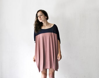 color blocking jersey dress, oversized shirt dress, navy rose, blue berry dress