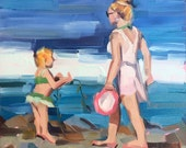 Blondies at the Beach, Original Oil Painting, 6 x 6