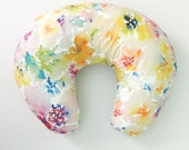 Nursing Pillow Cover Watercolor Flowers. Nursing Pillow. Nursing Pillow Cover. Minky Nursing Pillow Cover. Floral Nursing Pillow Cover.