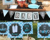 Boy Baby Q Decorations light blue baby shower chalkboard printable