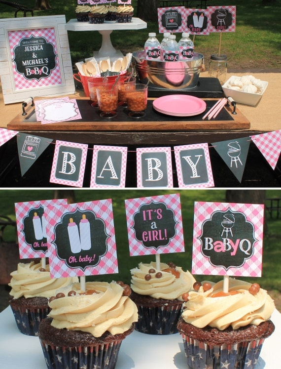 Girl baby q decorations package baby shower pink by for Baby shower decoration packages