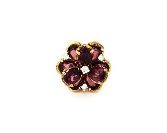 Vintage Panetta Sterling Amethyst Flower Bloom Ring