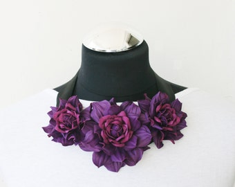 Purple leather floral bib necklace - Made to Order