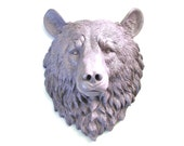 Large Faux Taxidermie Bear Head wall mount wall hanging in light purple-gray:  Bob the Bear nursery decor office woodland forest animal
