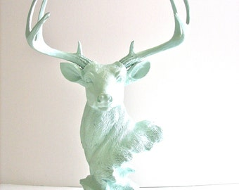 ICICLE BLUE Stag Animal Bust Statue in icicle blue woodland decor jewelry hanger office decor room decor woodland nursery elegant