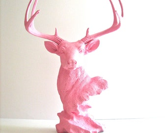 Deer Head Animal Bust Stag Statue in all LIGHT PINK:  jewelry hanger ringer holder catch all home decor kids room nursery decor office