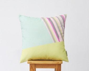 "Modern Decorative Pillow, Geometric Nursery Pillow, Kids Pillow, Throw Cushion, Green and Pink 16"" x 16"""