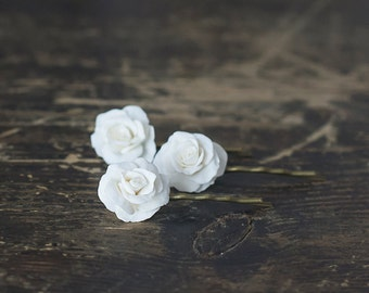 White rose flower hair pins - white rose hair clips - bridal hair accessories - white flower hair bobby pins - wedding flower hair pins
