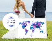 Wedding Guest Book Alternative - Custom Guest Book Map - Custom Color, Text, Logo - Signature Atlas - Sparkle Color
