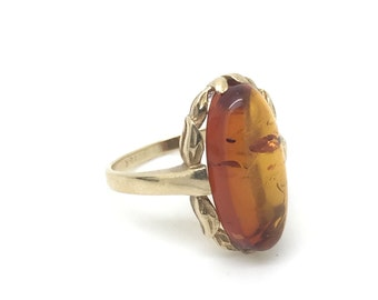 Vintage Amber Upcycled 10K Yellow Gold Ring