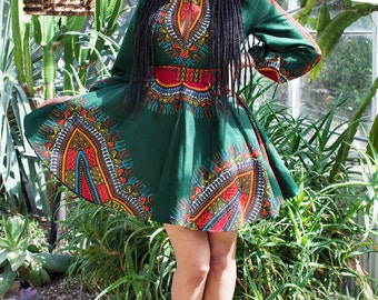 THE ZHARA Dashiki Dress in Forest Green