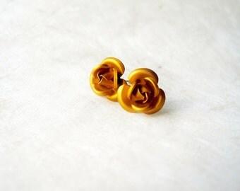Metallic Gold Rose Earrings. Golden Flower Stud Earrings. Lightweight Aluminum Rose Studs. Rustic Copper, Burnt Orange Jewelry.