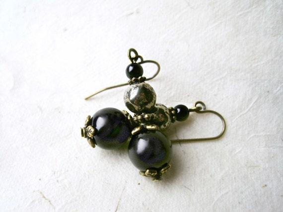 Black Pearl and Pyrite Earrings. Handmade Beaded Earrings with Pearls, Pyrite Stones + Jade. Antique Bronze Bohemian Dangle Earrings.