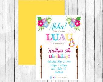 Luau Theme Birthday Party Personalized Birthday Invitation or Evite - Hawaiian Invitation - Hula Invitation DIGITAL FILE ONLY