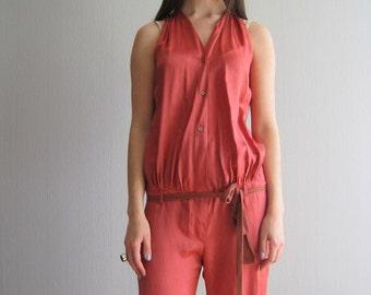 Jumpsuit S Romper Silk Red One Piece Romper Jumpsuit Red Designer Jumpsuit Sleeveless Womens Jumpsuit Drawstring Waist Size XS S