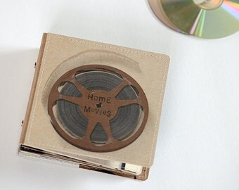 14 DVD/ CD Holder Book/ Handmade Upcycled DVD Wallet- Home Movie Edition