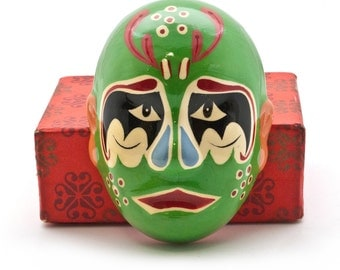 Chinese Opera Mask, Hand Painted Asian Theater Green Clay Mask, Chinese Opera Make-Up, Asian Art, Chinese Face-Painting Art, Chinese Figure