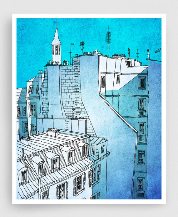In an old house in Paris - Paris Art Illustration Print Poster Home decor City prints Nursery Kids wall art Turquoise Blue Art Architecture