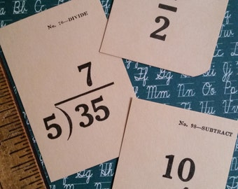 Vintage Flash Cards Miniature School Arithmetic Flash Cards | Math | Ephemera Pack