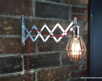 Industrial Wall Sconce - Scissor Lamp - Wall Sconce - Accordian Light - Industrial Furniture - Steampunk - Wall Light