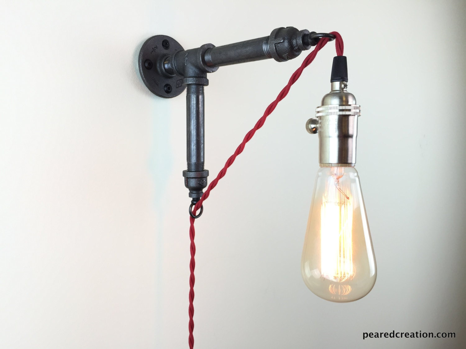 Plug in Wall Sconce Industrial Lighting by newwineoldbottles