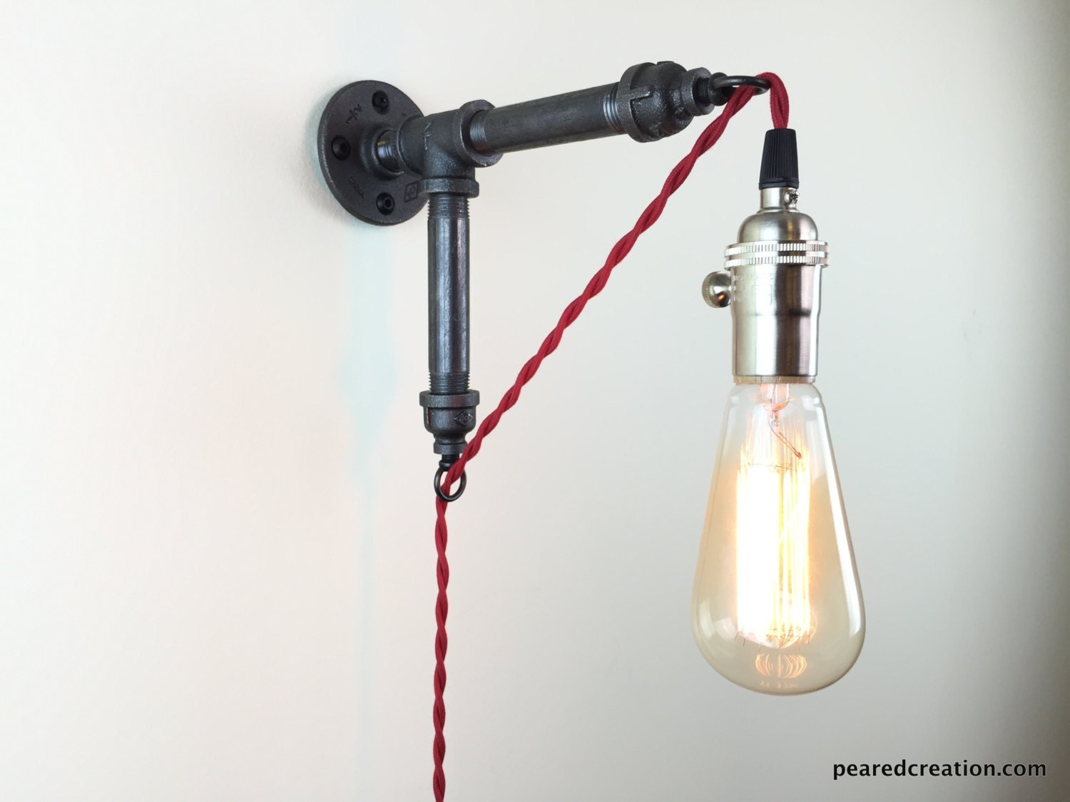 Wall Sconces Plug In Lighting : Plug in Wall Sconce Industrial Lighting by newwineoldbottles