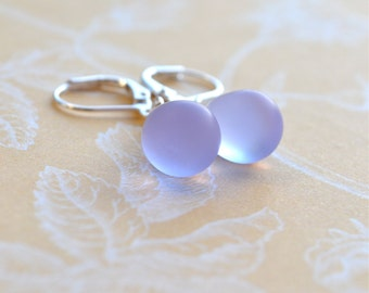 Lavender Drop Earrings, Violet Earrings, Silver Leverback Earrings, Tear Drop Earrings, Vintage Style Glass Earrings, Girlfriend Jewelry UK