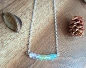 Multicolor aquamarine necklace, minimal gemstone bib necklace, march birthstone necklace, rainbow shaded bar necklace, ombre row necklace