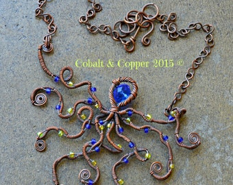 Antiqued Copper Steampunk Octopus Necklace