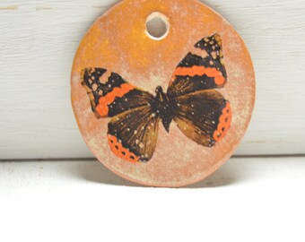 Butterfly Pendant - Ceramic - Handmade Pendant - Ceramic Pendant - Stoneware - Ceramic Art Beads -Clay Pendant -Focal Bead- Craft Supplies60