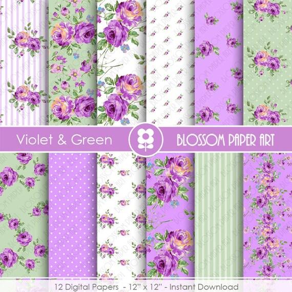 Papeles floreados violeta verde papeles para imprimir - Papeles decorativos para imprimir ...