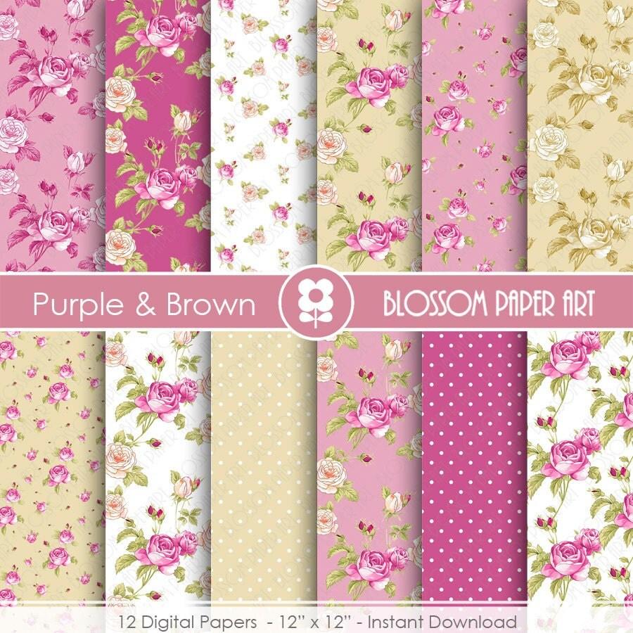 Papeles floreados violeta bordo beige marron fondos - Papeles decorativos para imprimir ...
