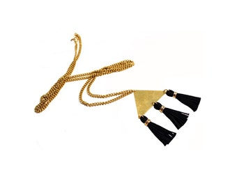 Brass Necklace black gold. Long necklace with triangle in raw brass and tassels