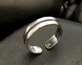 Sterling Silver .925 Double Band Toe Ring (or midi finger ring)
